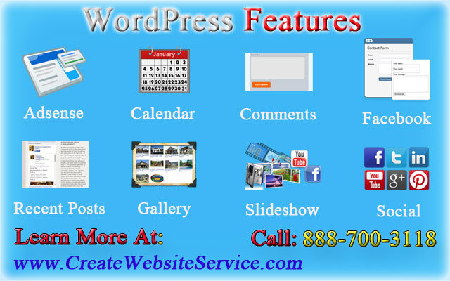best wordpress features for designed website by create website service